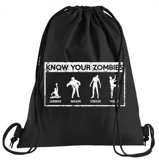 Know your Zombies Sportbeutel – bedruckter Turnbeutel mit Kordeln