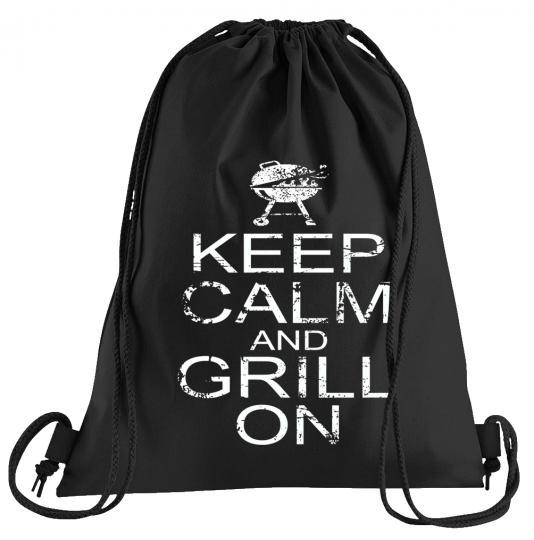 Keep Calm and Grill on Sportbeutel – bedruckter Turnbeutel mit Kordeln