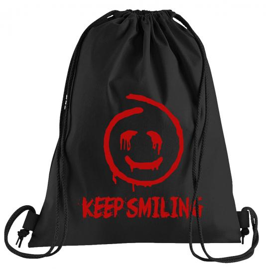 Red John Keep Smiling Sportbeutel – bedruckter Turnbeutel mit Kordeln