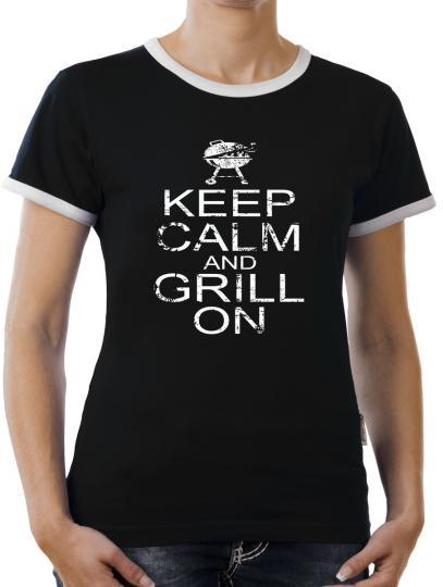 TLM Keep Calm and Grill on Kontrast T-Shirt Damen