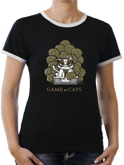 TLM Game of Cats Kontrast T-Shirt Damen