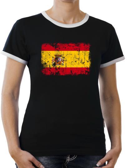 TLM Spanien Vintage Flagge Fahne Kontrast T-Shirt Damen