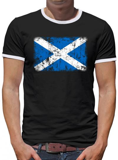 Schottland Vintage Flagge Fahne Kontrast T-Shirt Herren
