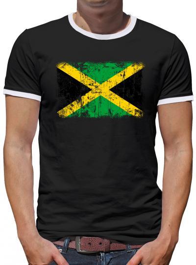 Jamaika Vintage Flagge Fahne Kontrast T-Shirt Herren
