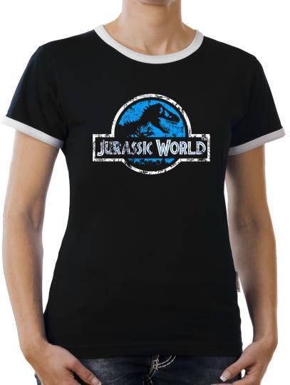 TLM Jurassic World Distressed Logo Kontrast T-Shirt Damen