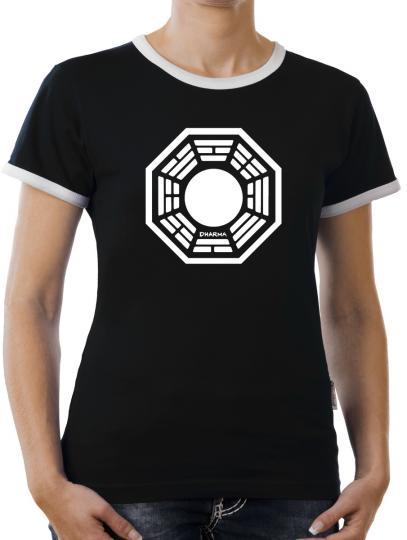 TLM Dharma Lost The Pearl Logo Kontrast T-Shirt Damen