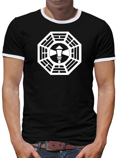 Dharma Lost The Lamppost Logo Kontrast T-Shirt Herren