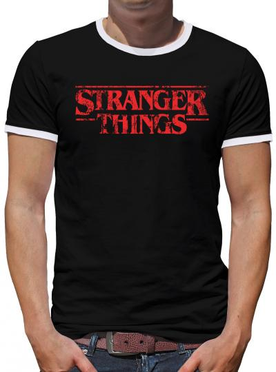 Stranger Logo Things Kontrast T-Shirt Herren