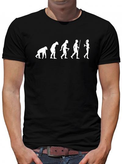 Evolution Aufziehpuppe T-Shirt Nerd Geek Lustig