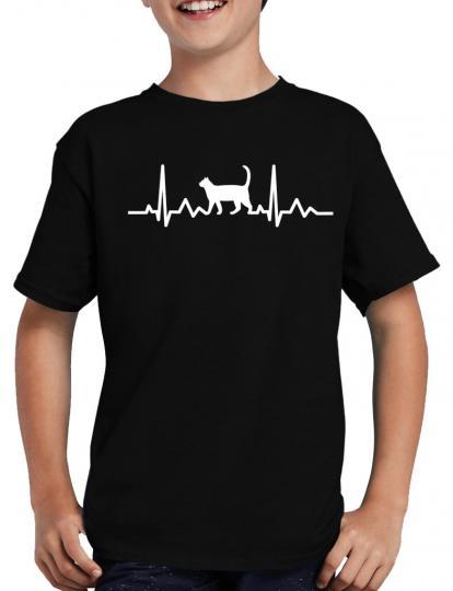 Herzschlag Katze T-Shirt Herzfrequenz EKG Heart