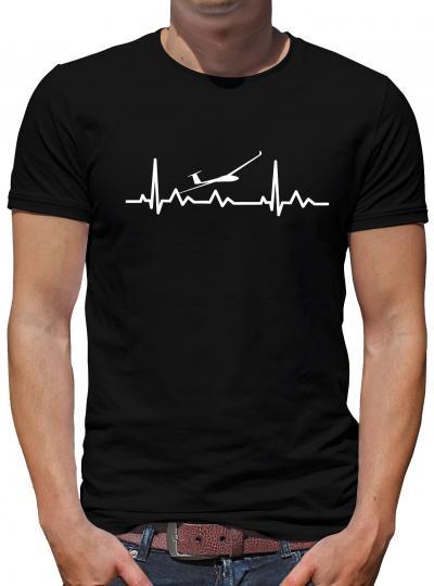 Herzschlag Segelflieger T-Shirt EKG Heart Herz