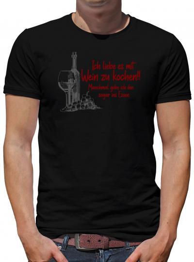 TShirt-People Ich liebe es mit Wein zu kochen T-Shirt Herren L Schwarz L