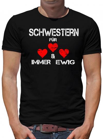TShirt-People Schwestern für immer und ewig T-Shirt Herren M Schwarz M