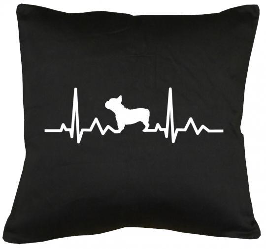 Herzschlag Französische Bulldogge Kissen mit Füllung 40x40cm