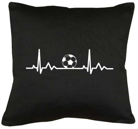 Herzschlag Fußball Kissen mit Füllung 40x40cm